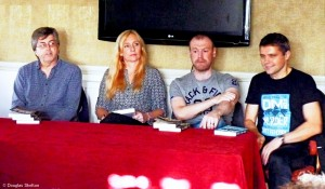 Caro Ramsay, Neil Broadfoot and I seem to be taking a question very seriously during last year's Death in Grantown festival. Matt Bendoris, far right, has a twinkly in his eye though. Something cheeky was coming I think.