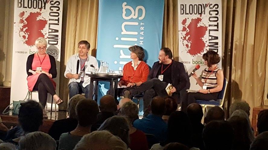 Catriona MacPherson, Gillian Galbraith, Russel D.McLean and Theresa Talbot listen as I make some truncheon remarks.