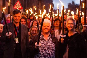 Ian Rankin, Val McDermid and Denise Mina set out to find Boris Karloff. Picture courtesy of Bloody Scotland