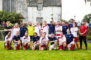 The two teams were the best of friends even though Scotland gave England a severe spanking. Picture courtesy of Bloody Scotland