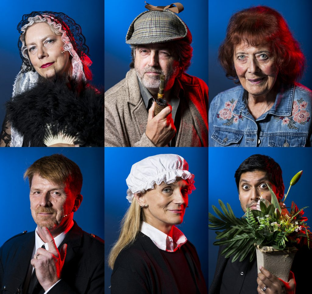 The cast of Inspector Faro Investigates, clockwise from top left, Marsali Taylor, Douglas Skelton, Alanna Knight, Abir Mukherjee, Harley Jane Kozak and Gordon Brown. Picture: Paul Reich, courtesy of Bloody Scotland